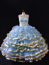 Ball Gowns 15 Quinceanera Dress Blue Scoop Organza Sleeveless Floor Length Lace Up