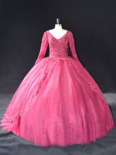 Hot Pink Ball Gowns Tulle V-neck Long Sleeves Lace and Appliques Floor Length Lace Up Quince Ball Gowns