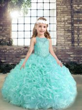 Custom Design Scoop Sleeveless Lace Up Pageant Dress for Girls Apple Green Fabric With Rolling Flowers