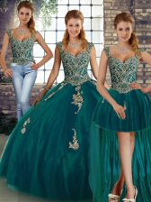 High Class Peacock Green Sleeveless Floor Length Beading and Appliques Lace Up Quinceanera Dresses