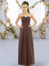 Brown Sleeveless Floor Length Ruching Lace Up Quinceanera Court Dresses