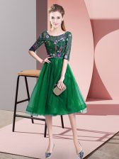 Superior Dark Green Empire Scoop Half Sleeves Tulle Knee Length Lace Up Embroidery Damas Dress