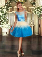 Multi-color Ball Gowns Scoop Sleeveless Organza Mini Length Backless Lace and Ruffles Prom Evening Gown