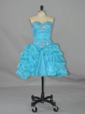 Ball Gowns Aqua Blue Sweetheart Organza Sleeveless Mini Length Lace Up
