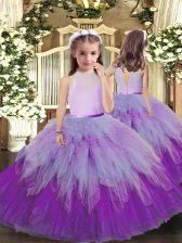 Multi-color High-neck Backless Ruffles Pageant Gowns For Girls Sleeveless