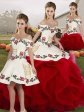 Off The Shoulder Sleeveless Tulle Quince Ball Gowns Embroidery and Ruffles Lace Up