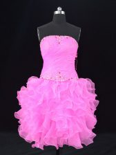Sophisticated Pink Sleeveless Organza Lace Up for Prom and Party and Military Ball