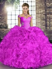 Sleeveless Floor Length Beading and Ruffles Lace Up Quinceanera Dresses with Lilac