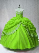 Green Ball Gowns Beading and Appliques and Pick Ups Sweet 16 Dress Lace Up Organza Long Sleeves Floor Length