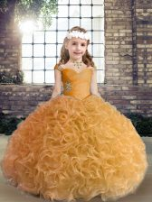 Modern Gold Fabric With Rolling Flowers Lace Up Little Girls Pageant Gowns Sleeveless Floor Length Beading