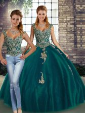 Trendy Tulle Straps Sleeveless Lace Up Beading and Appliques Quinceanera Dress in Peacock Green