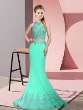 Hot Selling Apple Green Zipper Prom Party Dress Beading and Appliques Sleeveless Sweep Train
