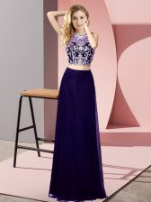 Two Pieces Dress for Prom Purple Scoop Chiffon Sleeveless Floor Length Backless