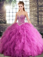 Shining Rose Pink Sleeveless Beading and Ruffles Floor Length Ball Gown Prom Dress