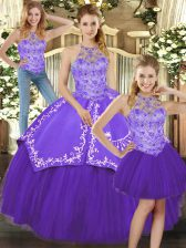 Romantic Purple Satin and Tulle Lace Up Quince Ball Gowns Sleeveless Floor Length Beading and Embroidery