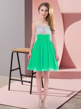 Best Selling Turquoise Empire Scoop Sleeveless Chiffon Mini Length Side Zipper Beading Dama Dress for Quinceanera