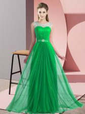 Green Lace Up Quinceanera Court Dresses Beading Sleeveless Floor Length