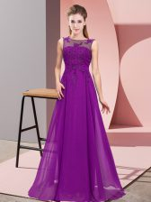 Dazzling Purple Damas Dress Wedding Party with Beading and Appliques Scoop Sleeveless Zipper