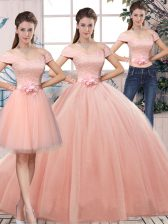 Tulle Short Sleeves Floor Length Quince Ball Gowns and Lace and Hand Made Flower