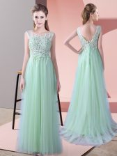 Simple Apple Green Sleeveless Beading and Lace Zipper Quinceanera Court Dresses