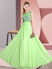 Scoop Sleeveless Chiffon Dama Dress Beading and Appliques Backless