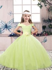 Tulle Off The Shoulder Sleeveless Lace Up Lace and Belt Little Girls Pageant Dress in Yellow Green