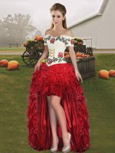 Red A-line Off The Shoulder Sleeveless Organza High Low Lace Up Embroidery and Ruffles Homecoming Dress