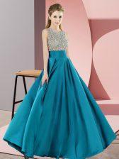 Adorable Scoop Sleeveless Homecoming Dress Floor Length Beading Teal Elastic Woven Satin