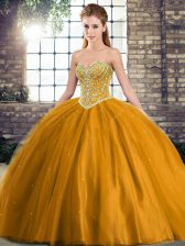 Sleeveless Beading Lace Up Sweet 16 Quinceanera Dress with Brown Brush Train