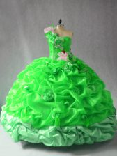 One Shoulder Sleeveless Quinceanera Dress Floor Length Pick Ups and Hand Made Flower Organza