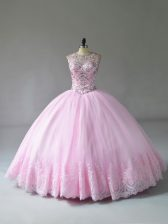 Beauteous Baby Pink Sweet 16 Quinceanera Dress Sweet 16 and Quinceanera with Beading and Appliques Scoop Sleeveless Lace Up