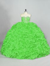 Ball Gowns Sleeveless 15th Birthday Dress Court Train Lace Up