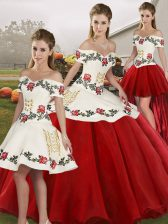 Designer Ball Gowns 15 Quinceanera Dress White And Red Off The Shoulder Organza Sleeveless Floor Length Lace Up