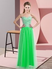Green Empire Tulle Sweetheart Sleeveless Beading Floor Length Lace Up Prom Party Dress