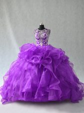 Best Selling Floor Length Ball Gowns Sleeveless Purple Sweet 16 Dress Lace Up