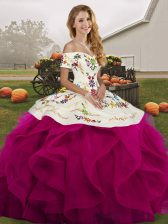 Off The Shoulder Sleeveless Ball Gown Prom Dress Floor Length Embroidery and Ruffles Fuchsia Tulle