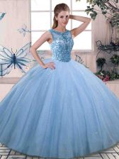Beautiful Scoop Sleeveless Lace Up Quinceanera Dresses Blue Tulle