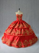 Red Satin Lace Up Quinceanera Gowns Sleeveless Floor Length Embroidery and Ruffled Layers