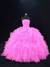 Pink and Rose Pink Quinceanera Dress Sweet 16 and Quinceanera with Beading and Ruffles Strapless Sleeveless Lace Up