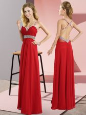 Floor Length Red Homecoming Dress Chiffon Sleeveless Beading