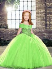 Best Yellow Green Kids Pageant Dress Tulle Sleeveless Beading