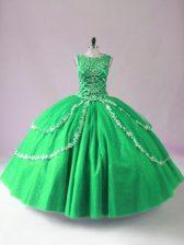Edgy Scoop Sleeveless Vestidos de Quinceanera Floor Length Beading Green Tulle