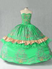 Glamorous Green Ball Gowns Organza Sweetheart Sleeveless Embroidery and Bowknot Floor Length Lace Up Sweet 16 Quinceanera Dress