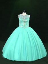 Noble Turquoise Scoop Lace Up Beading Ball Gown Prom Dress Sleeveless