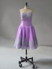 Captivating Mini Length Lavender Evening Dress Sweetheart Sleeveless Lace Up