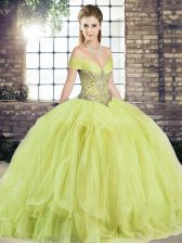 Floor Length Yellow Green Sweet 16 Dresses Off The Shoulder Sleeveless Lace Up