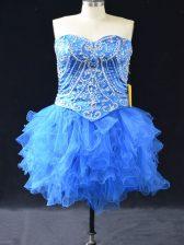 Captivating Blue Sweetheart Lace Up Beading and Ruffles Prom Dresses Sleeveless