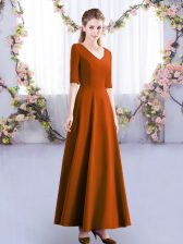 Colorful Rust Red Empire Satin V-neck Half Sleeves Ruching Ankle Length Zipper Quinceanera Dama Dress