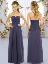 Fabulous Navy Blue Quinceanera Dama Dress Wedding Party with Ruching Sweetheart Sleeveless Lace Up