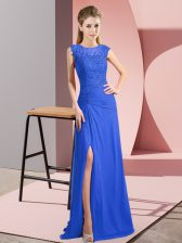 Trendy Blue Chiffon Zipper Scoop Sleeveless Floor Length Prom Dresses Lace and Appliques